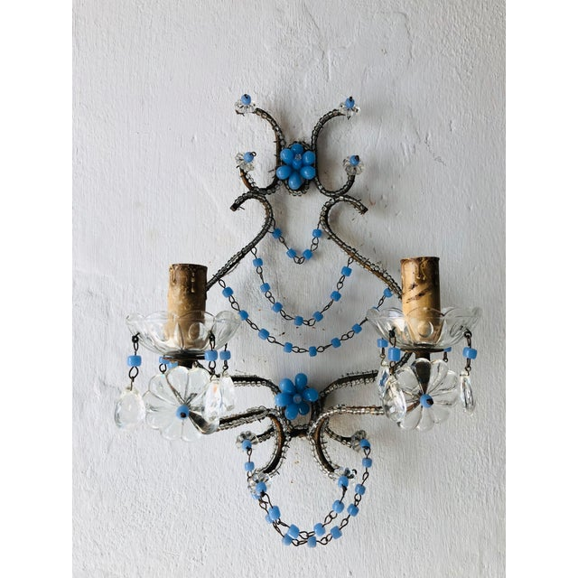 Crystal French Lavender Opaline Beads Beaded Sconces, circa 1920 For Sale - Image 7 of 10