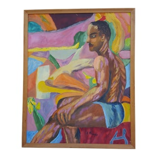 """1963 """"E. Preso"""" Nude Sitting Man Oil Painting For Sale"""