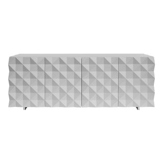 Joel Escalona Rocky Collection Geometric White Credenza and Sideboard For Sale
