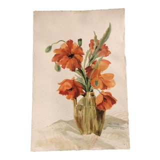 Original Vintage Watercolor Poppy Still Life Painting Signed 1970's For Sale