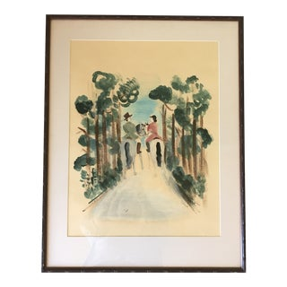 Vintage Mid-Century Equestrian Watercolor Painting For Sale
