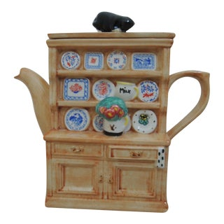 """Late 20th Century """"Welsh Dresser"""" China Cabinet With Cat Tea Pot by Swineside Ceramics Teapottery For Sale"""