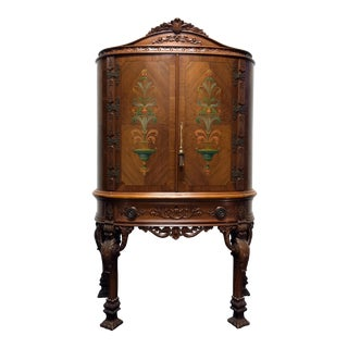 Italian Neo-Classical Inlaid Walnut Hand Painted Amoire Bar Cabinet