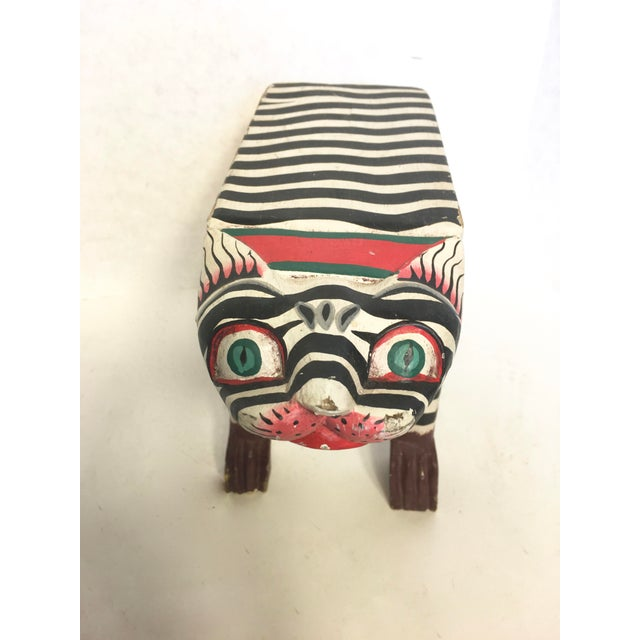 Folk Art Hand-Crafted Zebra Cat Footstool - Image 3 of 5