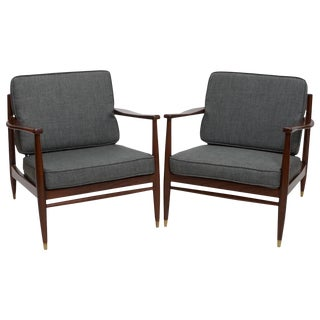 American Modern Armchairs in the Style of Grete Jalk - a Pair For Sale