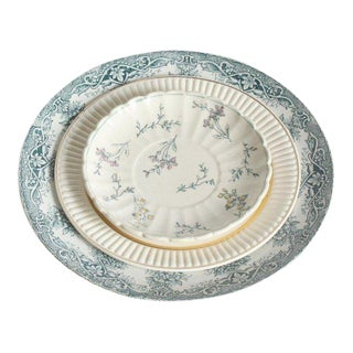 1930s French Green Floral China Plates - Set of 3 For Sale