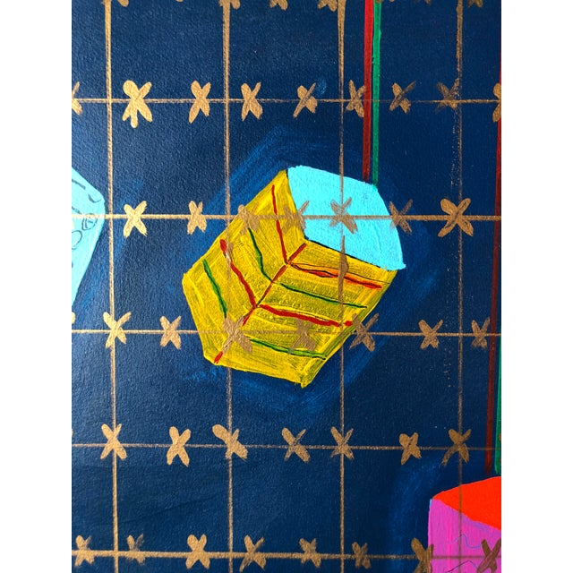 """Paper Frances Schifflette Hicks Abstract """"Floating Cubes"""" 1980s San Francisco Women Artists For Sale - Image 7 of 8"""