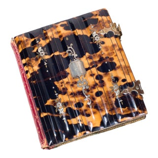 """""""Memory's Leaflet"""" Book Cover Daguerreotype Tortoise Shell W/ Sterling Silver, Leather Book Binding, Doorway Metal & Red Velvet Fabric For Sale"""