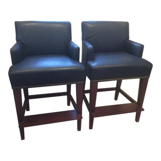 Lee Industries Leather Counter Stools With Nailhead - A Pair For Sale