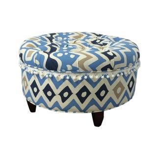 Contemporary Upholstered Tufted Cap Ferrat Ottoman