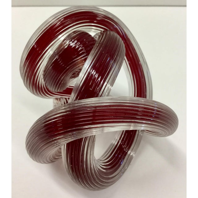 Glass Zanetti Murano Style Ruby Red Glass Knot For Sale - Image 7 of 8