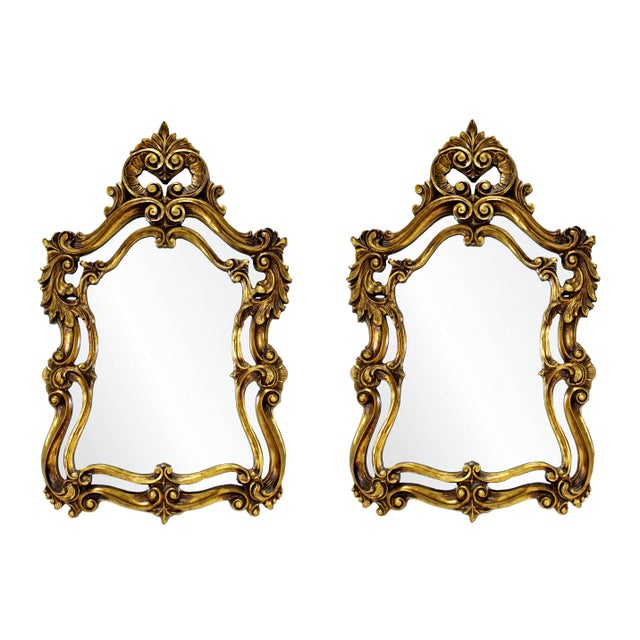 Rococo Hollywood Regency Style Gold Gilt Leaf Hanging Wall Mirrors - a Pair For Sale In Detroit - Image 6 of 6