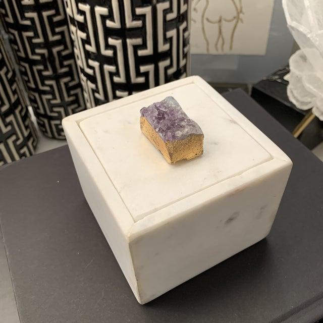 Stone Lidded Box With Druzy Stone Detail For Sale - Image 4 of 13
