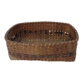 Antique Rustic Maine Indian Woven Basket For Sale