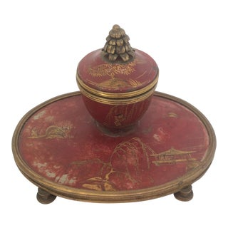 French 18th C. Red Chinoiserie Decorated Inkwell