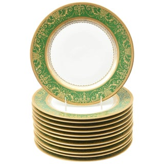 12 Antique French Rich Green and Heavily Gilded Dinner Plates, Oversized For Sale