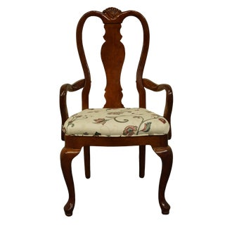 Late 20th Century Bernhardt Furniture Traditional Style Solid Cherry Dining Arm Chair For Sale