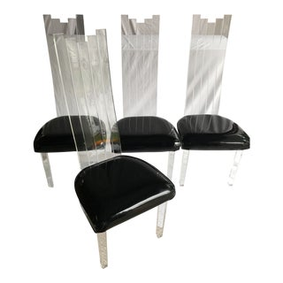 4 Mid Century Modern Acrylic High Back Chairs by Charles Hollis Jones for Hill Corporation