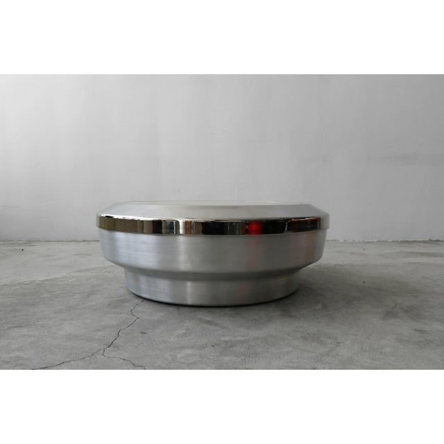 Round Aluminum Chrome and Mirror Drum Canister Coffee Table by Gj Neville For Sale - Image 10 of 10