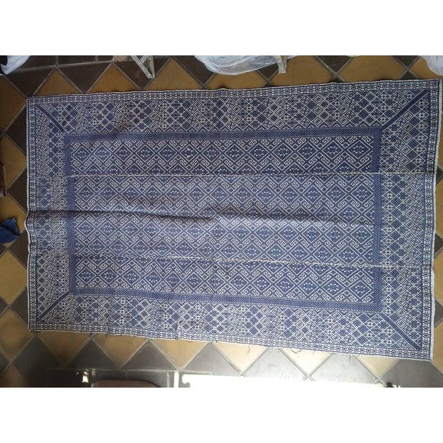 Hand Embroidered Indigo Tribal Rug - 2′6″ × 5′ - Image 2 of 6
