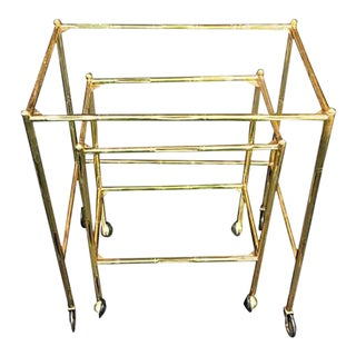 Pair of Bagues Brass Bamboo Nexting Tables on Wheels For Sale
