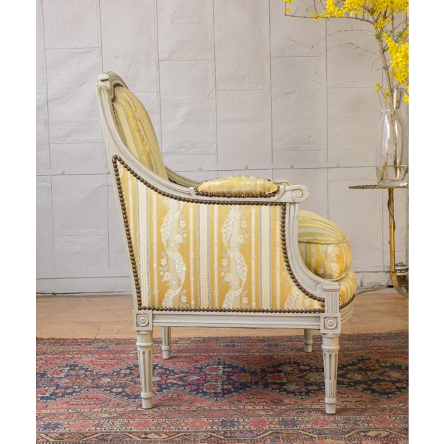 Pair of French Louis XVI Style Armchairs For Sale - Image 4 of 12