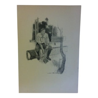 """Vintage Miles Standish Print, """"The Axe"""" by Howard Christy - 1903 For Sale"""
