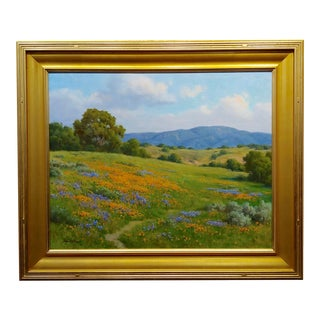 David Chapple -Poppy Fields in Gorgeous California Landscape-Oil Painting For Sale