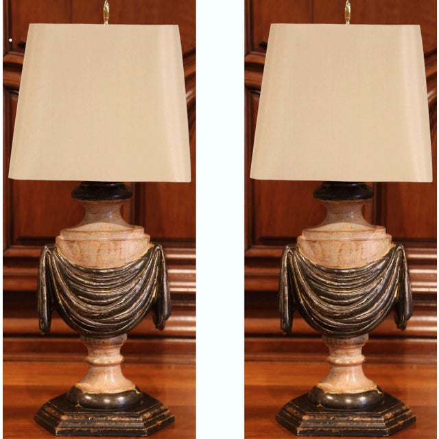 Pair of Italian Carved Lamp Bases With Polychrome Antique Painted Finish For Sale - Image 11 of 12