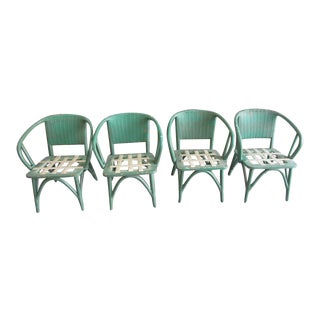 Mid Century Modern Wicker Chairs - Set of 4 For Sale