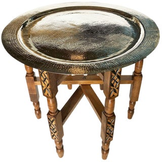Moroccan Folding Metal Tea Table For Sale