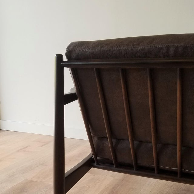 Brown 1960s Newly Upholstered Folke Ohlsson Lounge Chair For Sale - Image 8 of 13