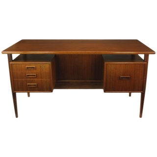 Danish Teak Executive Desk With Floating Drawers For Sale
