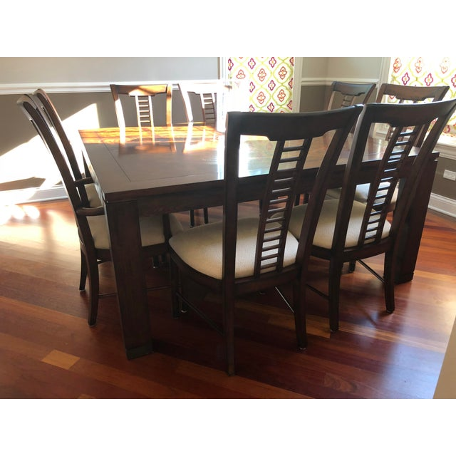 Brown Square Table With Spindle Back Chairs Dining Set For Sale - Image 8 of 8