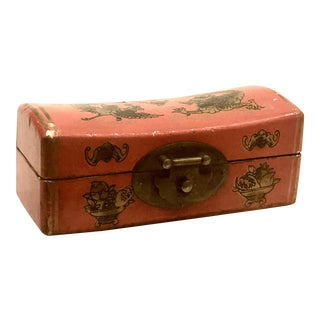 Red Leather Asian Pillow Box