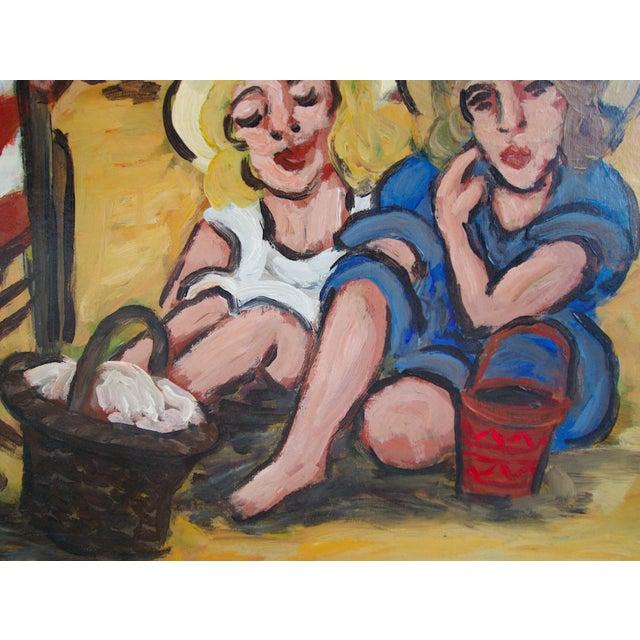"""Jean-Claude Maas """"Les Jumelles à La Plage"""" Painting - Image 4 of 5"""
