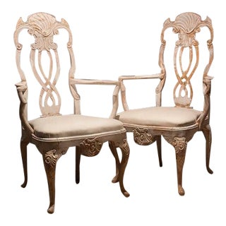 Late 19th Century Italian White Washed Chairs- A Pair For Sale