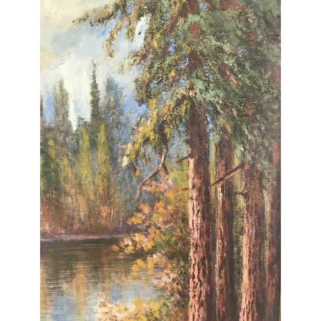 "1927 ""California Redwoods on the Riverbank"" Landscape Painting For Sale - Image 10 of 12"