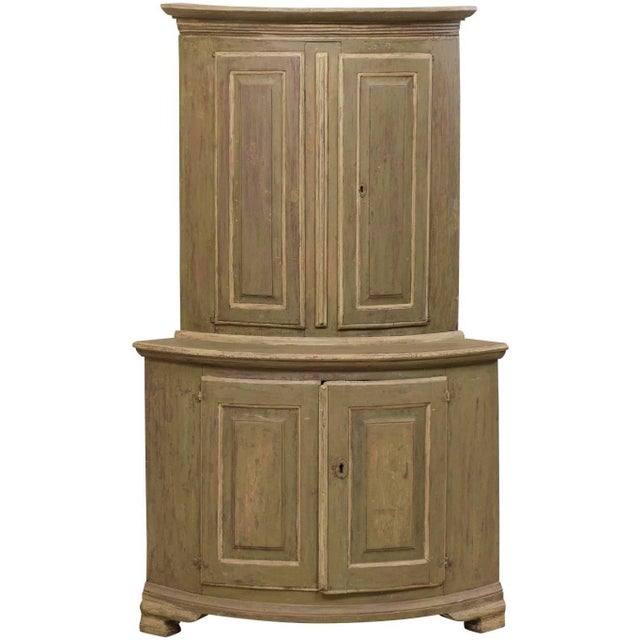 18th Century Antique Gustavian Swedish Painted Wood Corner Cabinet For Sale - Image 12 of 12