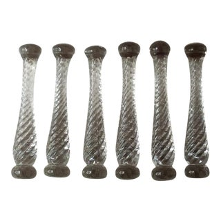 1920s Antique Glass Cocktail Muddlers - Set of 6 For Sale