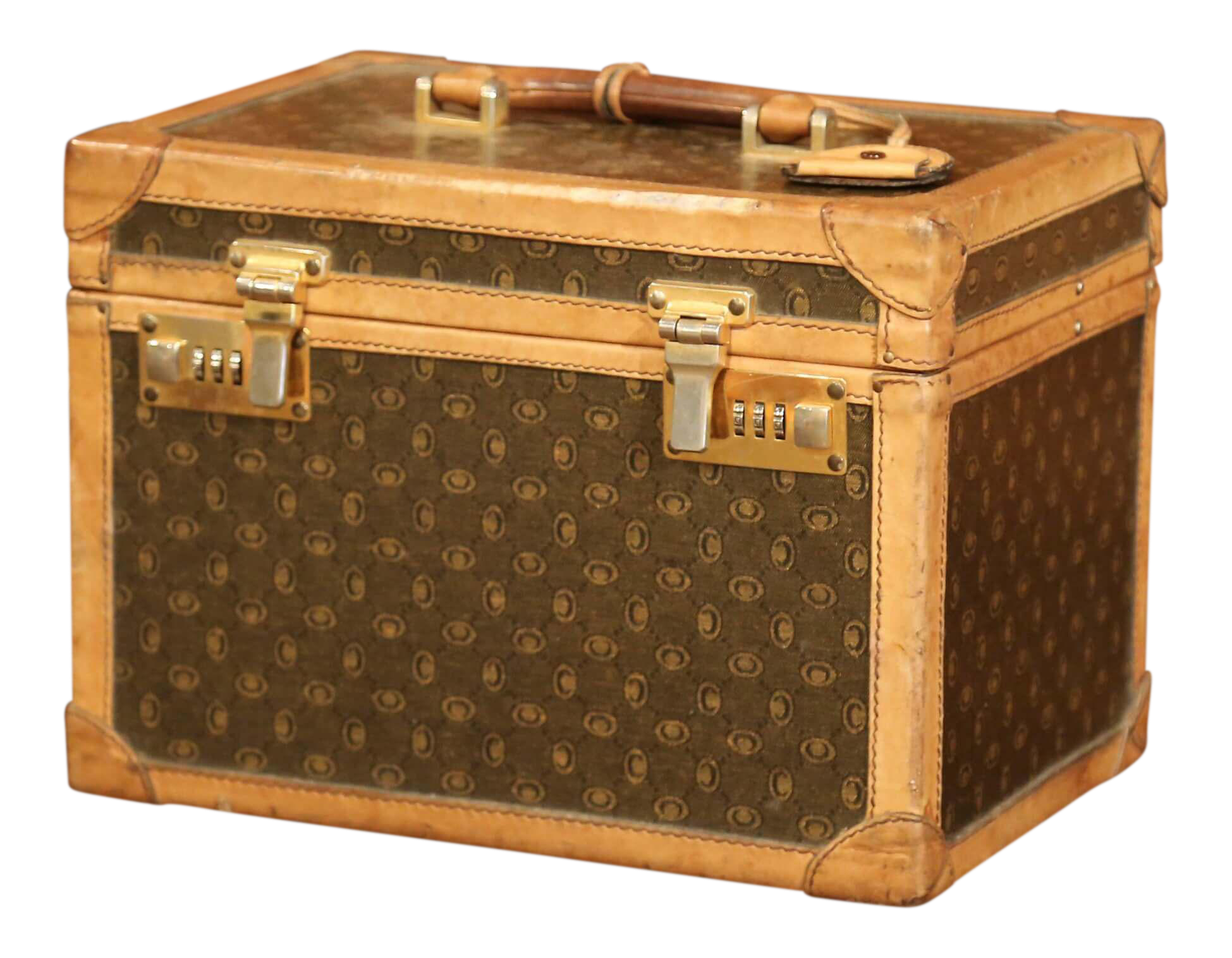 19th Century French Leather Toiletry Box With Decorative Trim And Brass  Hardware