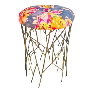 """Venus"" Fabric Upholstered Sculpted Brass Twig Stool For Sale"