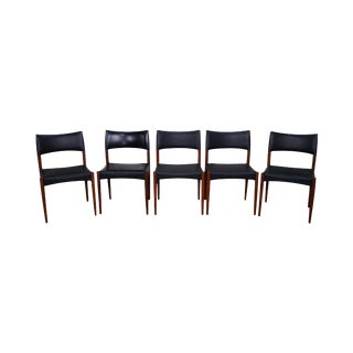 Johannes Anderson Danish Modern Teak Dining Chairs - Set of 5 For Sale