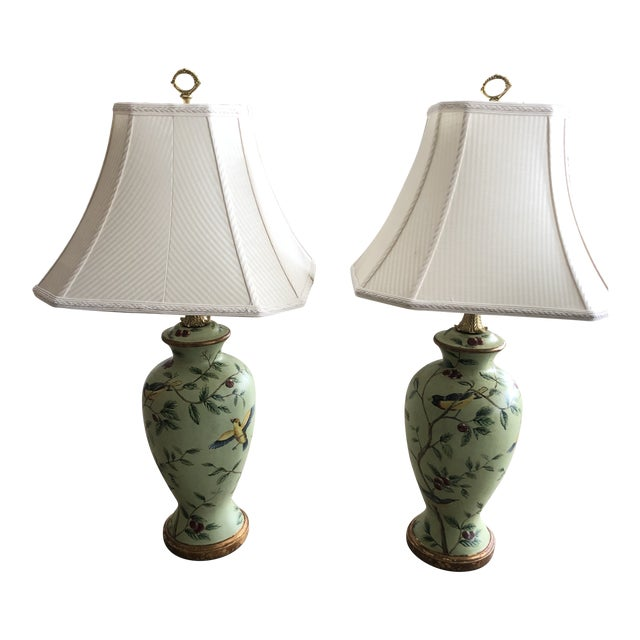 Bradburn Celadon Green Table Lamps With Birds and Foliage - a Pair For Sale