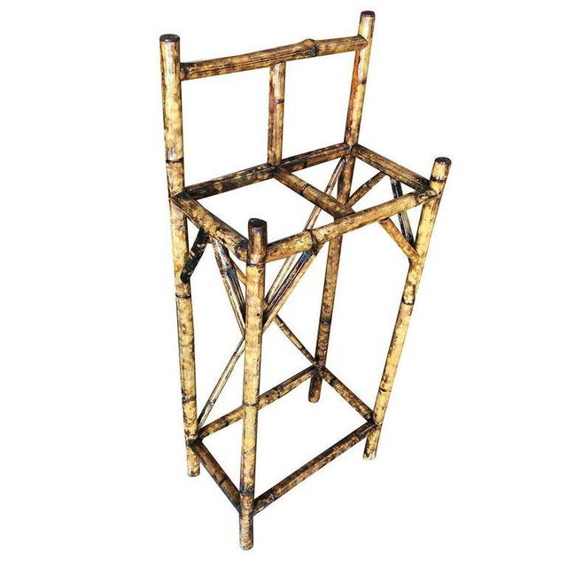 Restored Aesthetic Movement Two Slot Antique Tiger Bamboo Umbrella Stand For Sale In Los Angeles - Image 6 of 6