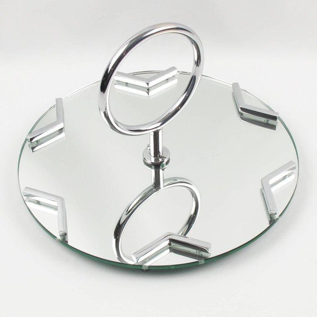 French Art Deco Cocktail Set Barware Mirror Serving Tray and Dishes For Sale In Atlanta - Image 6 of 10