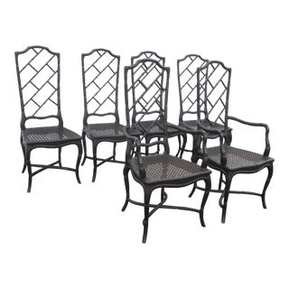 Set of 6 Tall Back Faux Bamboo Black Chinese Chippendale Dining Chairs For Sale