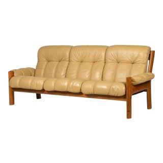 Ekornes Leather & Teak Sofa