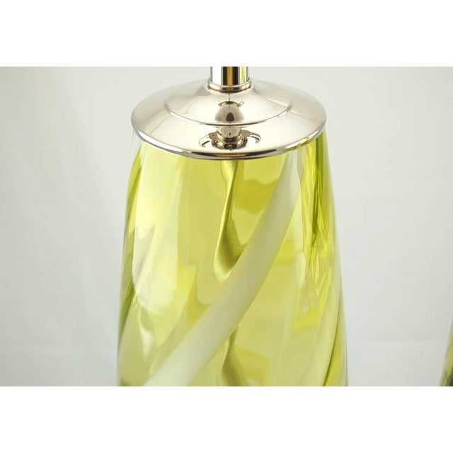 1960s Vintage Venetian Glass Table Lamps Yellow Green For Sale - Image 5 of 10