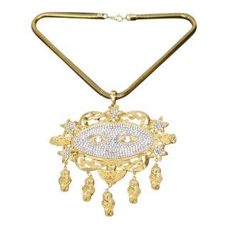 Judith Leiber Exquisite Diamante Crystal Gilt Metal Massive Pendant Necklace For Sale